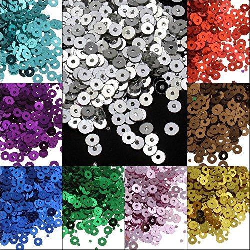 13200 STK. Pailletten Ø 4mm 11 Farben Set Glatt Rund Perlen für DIY Kleidung und Schmuck, Handwerk Metallic Basteln Sequin Bombe