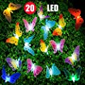 LED String Lights, 20Pcs Multi-Color LED Fiber Optic Butterfly Lights, 16ft Length, Solar-Powered Fairy Lights, Waterproof LED Strand Lights for Garden, Christmas,Outdoor Lighting Decorations