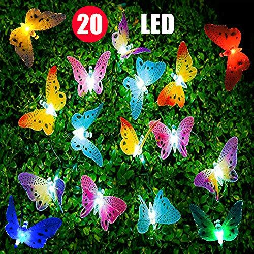 LED-Lichterketten, 20 Stk, Mehrfarbige LED-Schmetterlingslichterketten aus Glasfaser, 13 Fuß lang, solarbetriebene Lichterketten für Garten, Weihnachten und Außenbeleuchtung
