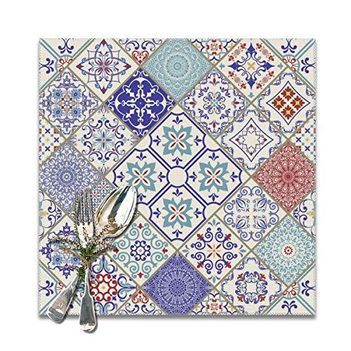 Houity Vintage Multi kleuren Patroon In Turkse Stijl Wasbaar Zacht Voor Keuken Diner Tafel MatPlacemat, Makkelijk Te Reinig Handige Opvouwbare Opslag Placemat 12x12 Inch Set Van 6
