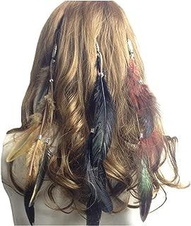 Feather Headband Hippie Indian Boho Hair Hoop Tassel Bohemian Headdress Headwear Headpiece Women Girls Kids Crown Hairband Hair Bands Party Decoration Cosplay Costume Handmade Hair Accessories 3 Pack