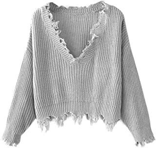Women's Solid V Neck Loose Sweater Long Sleeve Ripped...