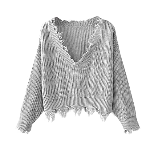 6cfe8c05f8 ZAFUL Women s Solid V Neck Loose Sweater Long Sleeve Ripped Jumper Pullover Knitted  Crop Top