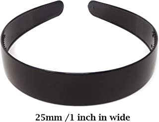 Honbay 10PCS 25mm 1 inch Black Plastic Hair Hoop Plain with Teeth Headband Headwear Hair Accessories