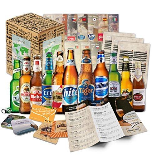 12 Biere der Welt mit Geschenk Karton Bier Info Tasting Anleitung Bierdeckel als Geschenkidee zum Geburtstag Vatertag für Väter Papa Männer