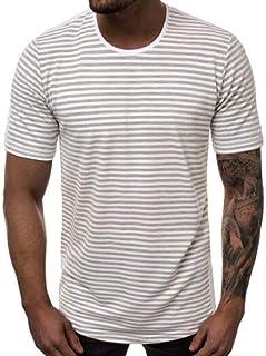 Abeaicoc Mens Short Summer Stripe Cotton Sleeve Casual Round Neck T-Shirt Tee Top