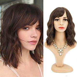 Dark Brown 14 Inches Short Bob Wavy Wigs with Bangs Colorful Curly Wigs for Women Synthetic Natural Looking Heat Resistant...
