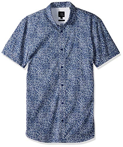 Armani Exchange A|X Herren Patterned Short-Sleeve Cotton Button Down Hemd, Bluedepths Shangai, Groß