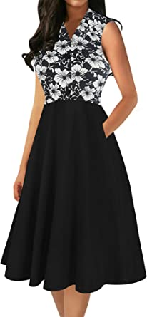 oxiuly Women's Vintage V-Neck Sleveless Pockets Party Cocktail Button A-Line Work Casual Midi Dress OX302