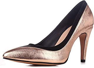 sorliva Stiletto High Heel Shoes for Women,4 inches Women Suede Patent Leather Stitching Prom Shoes Closed Pointy Toe Party Evening Dress Pumps