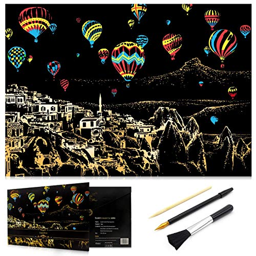Ageqi Scratch Art Paper Rainbow Painting Sketch Pad for Adult and Kids, DIY Night View Scratchboard - 16'' x 11.2'' with 3 Tools (Hot Air Balloon)