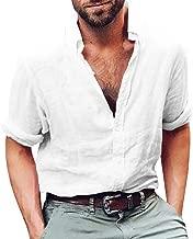 Mens Button Up Shirts Long Sleeve Linen Beach Casual Cotton Summer Lightweight Tops