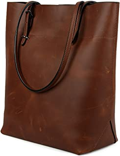 YALUXE Tote Women's Crazy Horse Leather Vintage Style Work Shoulder Bag (UPGRADED 2.0)