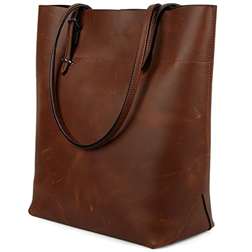 089b62fa9d YALUXE Women's Vintage Style Leather Work Tote Shoulder Bag (UPGRADED ...