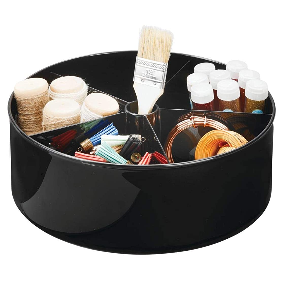 mDesign Deep Plastic Lazy Susan Turntable Storage Tray Bin - Divided Spinning Organizer for Craft, Sewing, Art, School Supplies in Home, Office, Classroom, Playroom, Studio - 5 Sections - Black