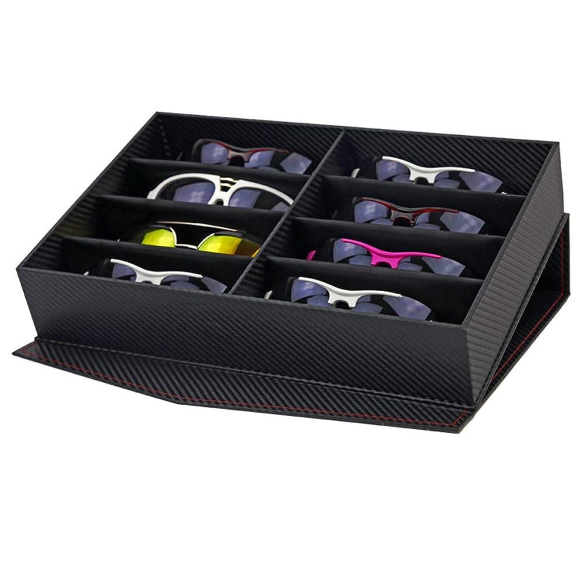 蒸反対にデンマーク語メガネ収納ボックス、 多機能サングラスオーガナイザー眼鏡アイウェアディスプレイコレクション収納ケース12コンパートメントメガネホルダーボックス き メガネコレクションケース サングラススタンド