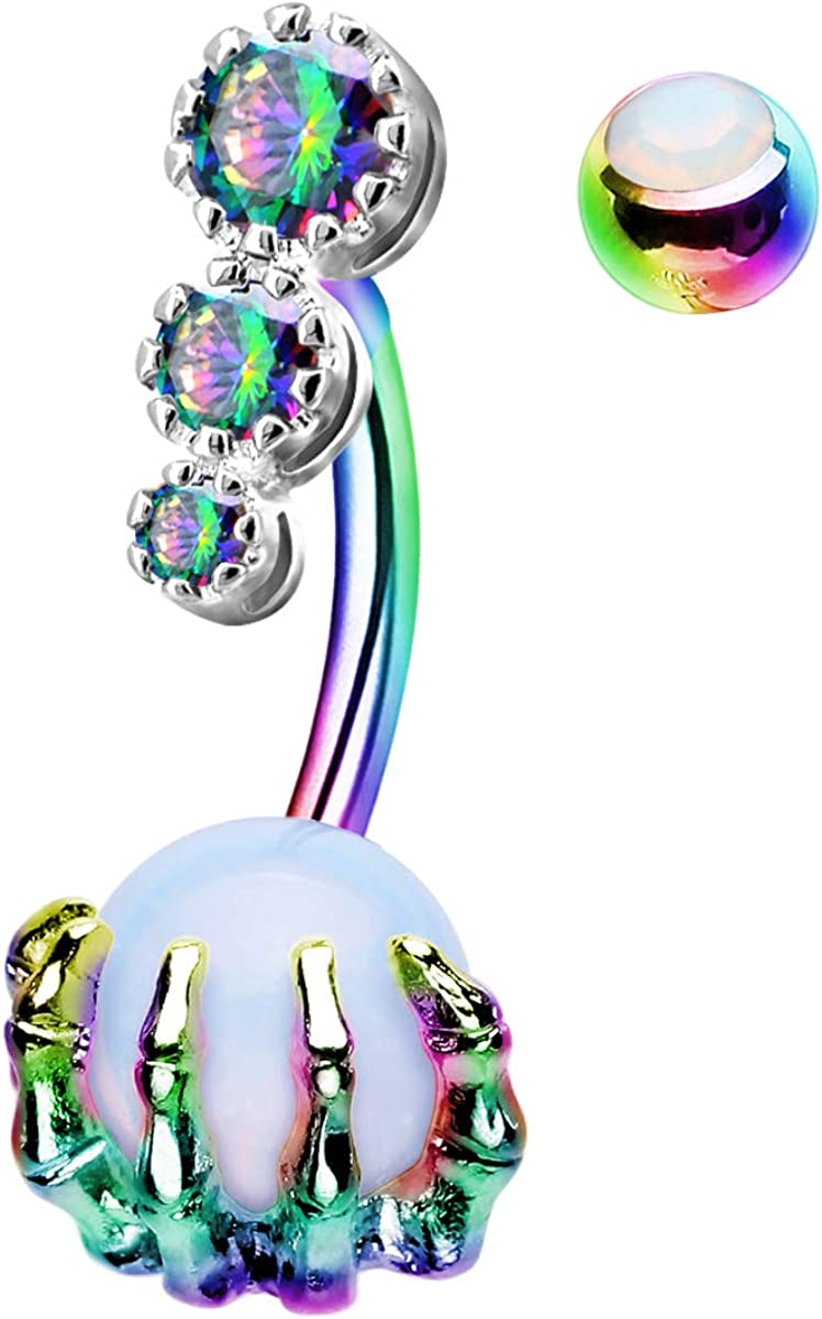 CM Crareesi Mania Skull Hand Halloween Belly Button Rings Natural Stone Claw Piercing Navel Rings for Women