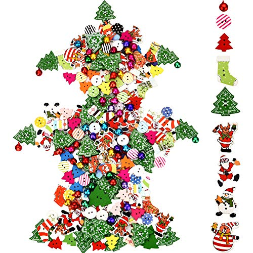 Sumind 150 Pieces Christmas Button Craft Mix Sewing Button and 50 Pieces Colorful Small Bells for Christmas Decorations