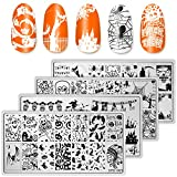 Whaline 4 Pieces Halloween Nail Art Plates Image Stamp Templates Stamping Kit DIY Print Manicure Salon Design