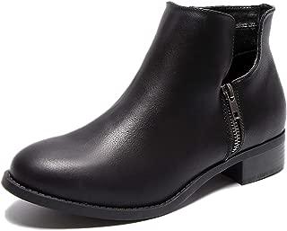 Women's Wide Width Ankle Boots, Block Low Heel Slip On Side Zipper Booties Cozy Comfortable Casual Shoes.