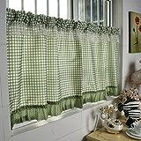 HongYa Tenda a quadri da cucina con cordoncino in stile rustico, Tessuto, verde, H/B: 60/140 cm