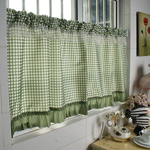 HongYa Tenda a quadri da cucina con cordoncino in stile rustico, verde, H/B: 90/90 cm