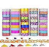 GCOA 50 Rollos Washi Tape Cinta Adhesiva Washi Glitter...