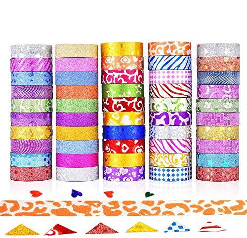 GCOA 50 Rollen Glitter Washi Klebeband Masking Tape Set Klebebänder Papierband für Geschenkverpackung,DIY Handwerk Supplies Scrapbooking Planer Scrapbooking Klebstoff Schule/Party Supplies Dekoration
