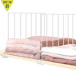 8 Pack Shelf Divider for Storage and Organization, Closet Shelves Separator With Stabilizer Sturdy Metal Wire Closet Shelf Easy Install Wardrobe Divider Shelf Organizer for Bedroom, Kitchen