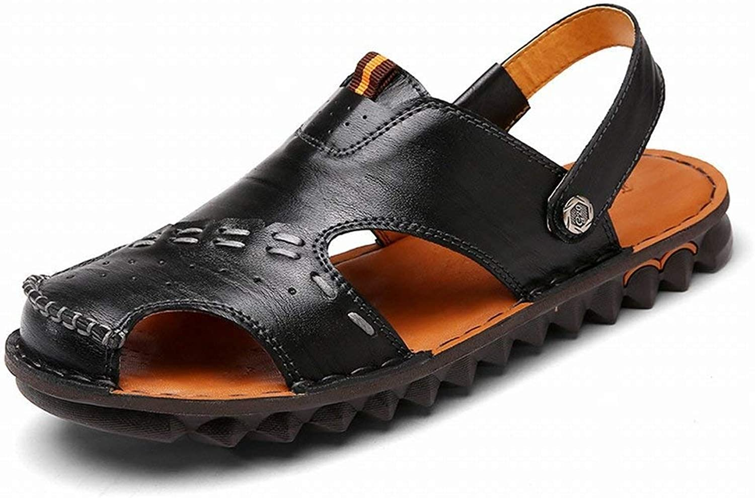 FuweiEncore Leather sandals for men Beach shoes Non-slip Lightweight wading shoes (color   Black, Size   44)