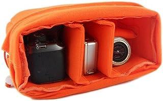 GenialES Organizador Acolchado Protector Antichoques para Cámaras SLR DSLR Bridge CSC con 4 Separadores Desmontables para Bolso Morral Naranja 26*17*12cm