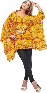 ZmuruD Yellow Linen Round Neck Kaftan & Kimono For Women