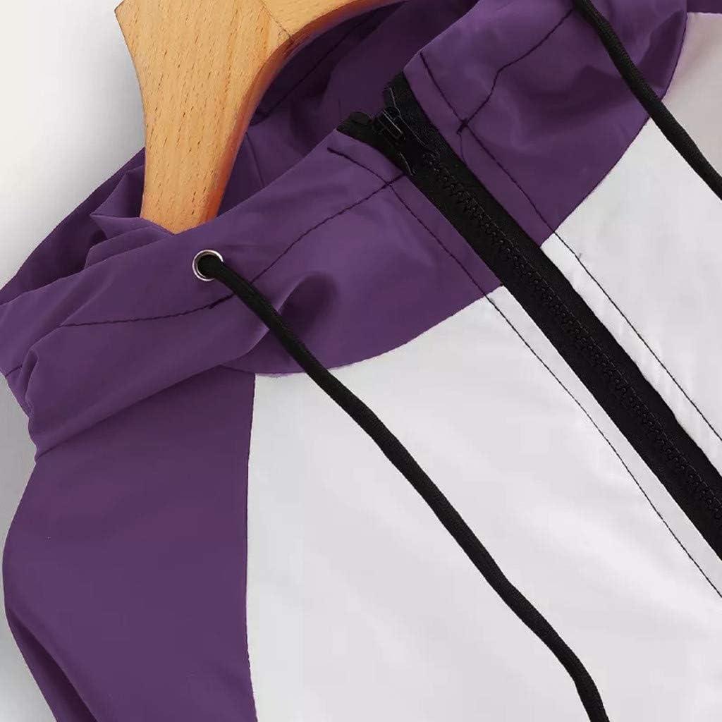 TUDUZ Damen Langarm Patchwork Dünne Skin Suits mit Kapuze Reißverschluss Taschen Sport Mantel Outwear X-lila