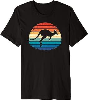 DINGLIDQ Australia Retro Kangaroo Gift Vintage Sunset Outback Aussie Premium T-Shirt