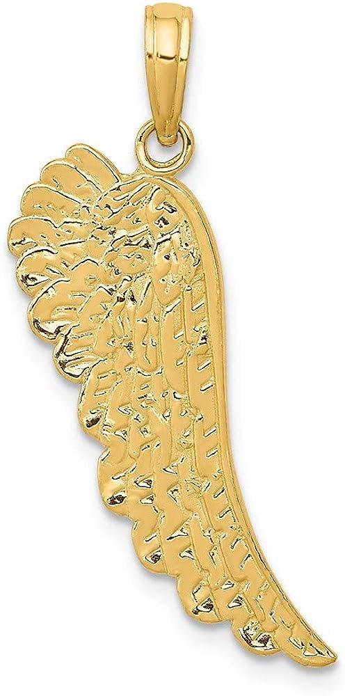 14k Yellow Gold Angel Wing Pendant (L- 28 mm, W- 10 mm)