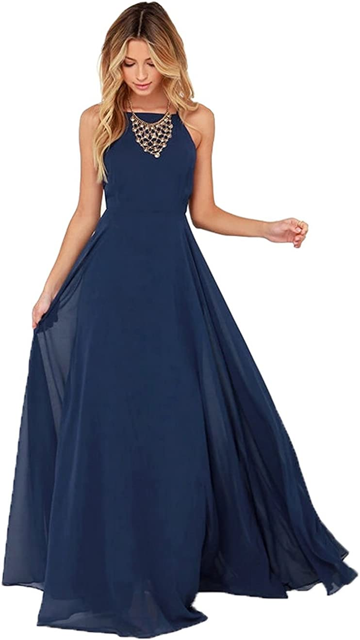Women's Halter Chiffon Long Evening Prom Dress Backless Formal Party Gown