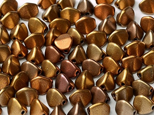 50pcs Pinch - Tchèques Perles en verre pressées triquetrous 5.5x3.5mm, Metallic Mix (Crystal Gold Rainbow)