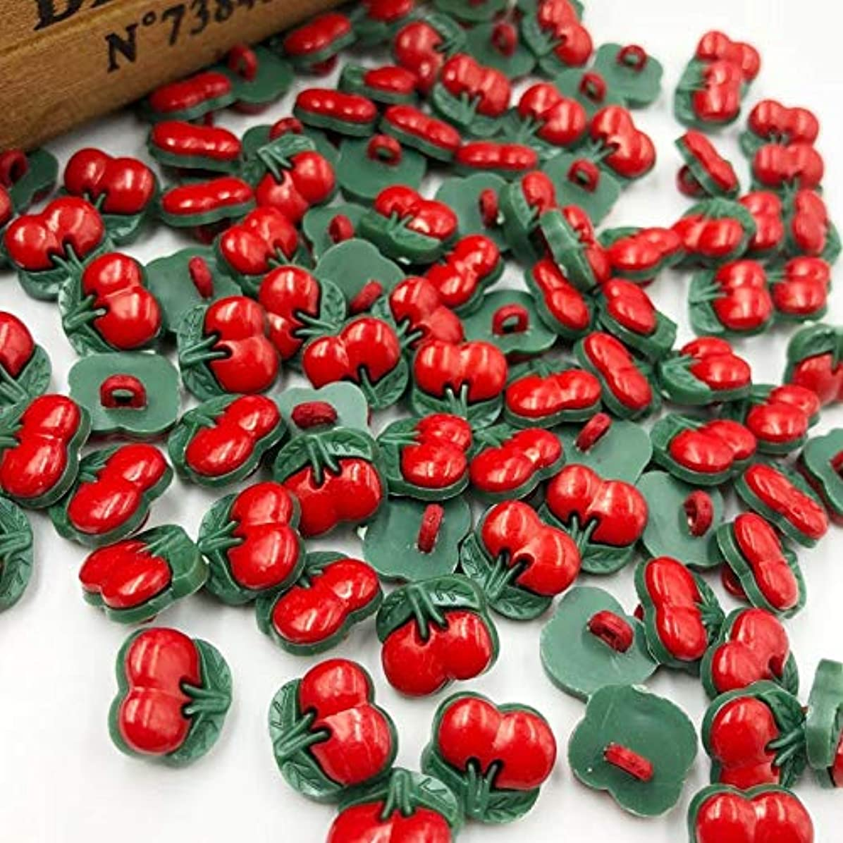 同行準備するドアJicorzo - U選ぶレッドチェリープラスチックボタン縫製ボタンDIY工芸[50個]