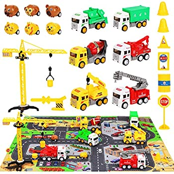 Engineering Construction Vehicles Truck Toys Set with Play Mat Mixer Crane Fire Garbage Truck Pull Back Car Road Signs Playset for 3 4 5 6 Year Olds Boys Kids Toddlers Children to Role-Playing
