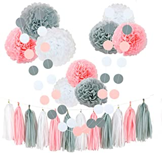 CHOTIKA 23 pcs Tissue Flowers Pom Poms Party Girl Paper Decorations First Birthday Girl Tissue Flowers Tassel Paper Baby Shower Decorations Supplies Kits Paper (Pink-White-Grey)