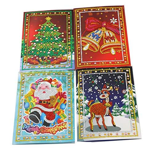 Z-HOMZYY 4 Pack handgemaakte wenskaarten DIY speciale vorm diamant schilderij kerstkaarten kit met blanco enveloppen voor Kerstmis Verjaardag Kids ambachten Gift