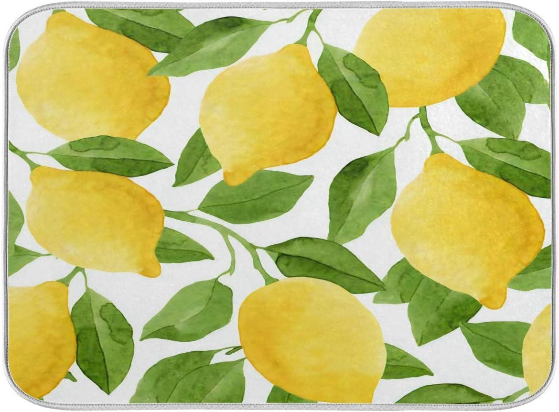 security Kitchen Dish Drying Mat Yellow Multifunctional Award-winning store Watercolor Lemon