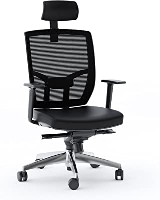BDI Furniture 223DHL B TC-223 Leather Seat-Black with Polished Aluminum Base Office