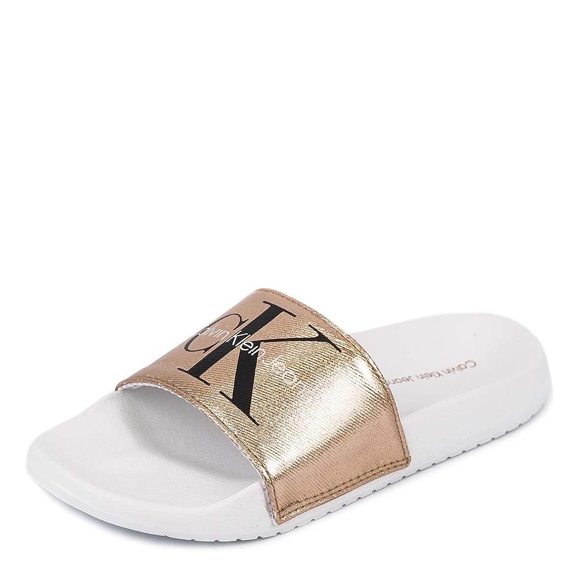 動かないプロフェッショナルハーネス[カルバンクライン ジーンズ]Calvin Klein Jeans 34R3654 CHANTAL METAL CANVAS SANDALS ROSE GOLD/WHITE size6 [並行輸入品]
