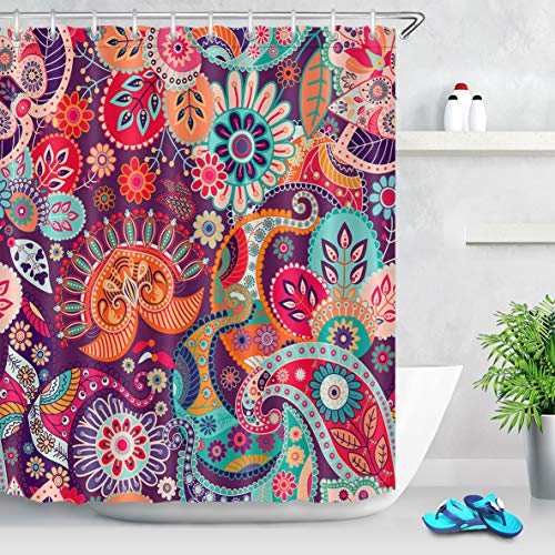 LB Hippie Style Bohemian Shower Curtain Mandala Print Colorful Tribal Paisley Floral Pattern Indian Shower Curtains for Bathroom,72x72 Inch Waterproof Yoga Curtain Decor with 12 Hooks