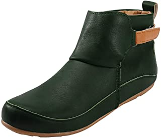 Women's Vintage Leather Boots Autumn Flat Waterproof PU Shoes Winter Round Toe Slip-on Ankle Boots