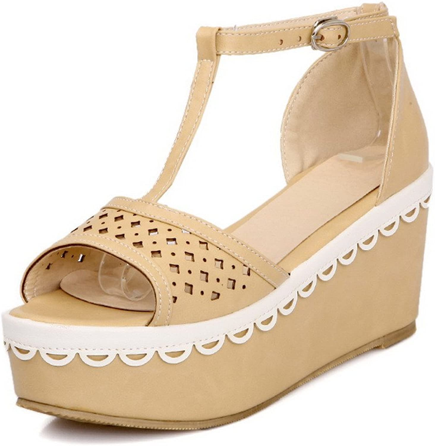 WeenFashion Womens Open Toe Kitten Heel Platform Wedge PU Soft Material Solid Sandals with Buckle, Apricot, 7.5 B(M) US
