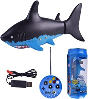 Mopoq Remote Control Radio Remote Control Mini Electric Fish Shark Children's Gift Game Children's Water Toys (black And W...