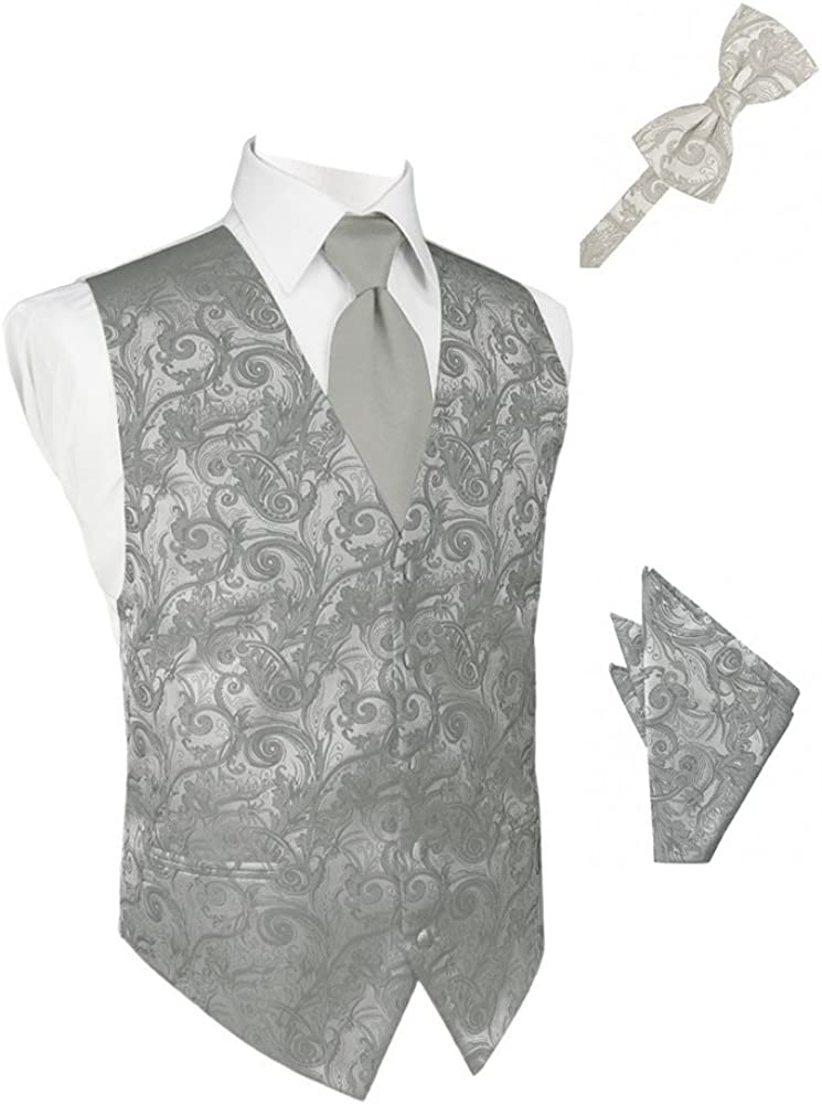Platinum Tapestry Satin Tuxedo Vest with Long Tie Bowtie and Pocket Square Set