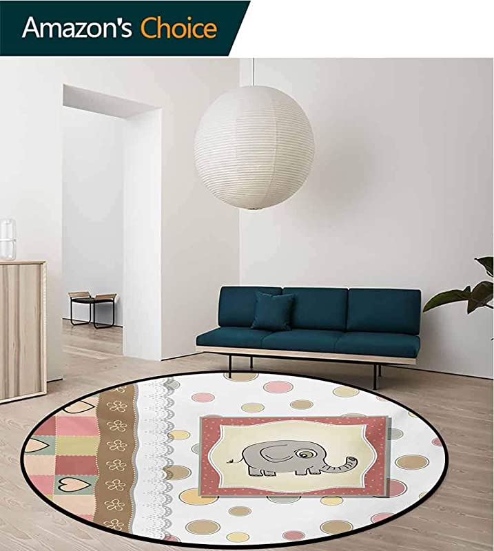 RUGSMAT Elephant Nursery Carpet Gray Round Area Rug Vintage Romantic Composition Of Playful Kids With Childish Drawing Hearts Pattern Floor Seat Pad Home Decorative Indoor Diameter 24 Inch
